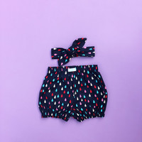 Rain Drops in Navy Cotton Bloomers