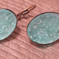 Druzy earrings-  Turquoise drusy bronze tone dangle druzy earrings