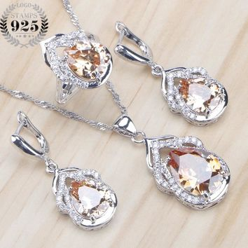 925 Sterling Silver Bridal Jewelry Sets Champagne Zirconia Earrings For Women Wedding Rings Pendant Necklace Set Gifts Box