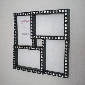 BLACK & BLING COLLAGE Frame - Black w/ Clear Rhinestones for 4 x 6 photos