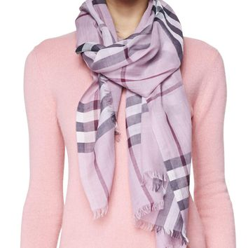 Giant Check Gauze Scarf, Pink Heather, pink heather chec - Burberry