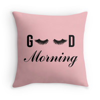 Good Morning Lashes Decor Pillow