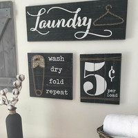 LAUNDRY ROOM SIGNS, set of 3, Laundry Room Decor, Laundry Room Decor Signs, Rustic Laundry Room decor, Laundry Sign, Wood Laundry Sign
