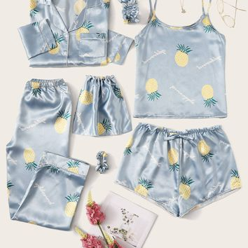 7Pcs Pineapple Print Blue Satin Pajama Set