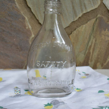 1900's Glass Bottle, Rare Original Betsy Brown Safety Nursing Bottle, Antique Nursing Bottle, Collectible