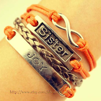 Alloy bracelet - infinity and sisters bracelet - JOY bracelet, orange wax rope bracelet - the best sisters friendship gift, Christmas gift
