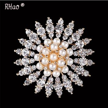 RHao Flower Imitation Pearls Brooches Crystals Rhinestone Broach Pins for Bridal Wedding Bouquet Women Girls Jewelry Gifts