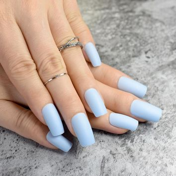 Fashion Matte Fake Nails Flat Top False Nails Light Blue Acrylic Nails Tips Full Cover Manicure Tools