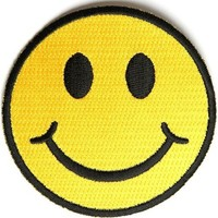 "Embroidered Iron On Patch - Yellow Smiley Face 3"" x 3"" Patch"