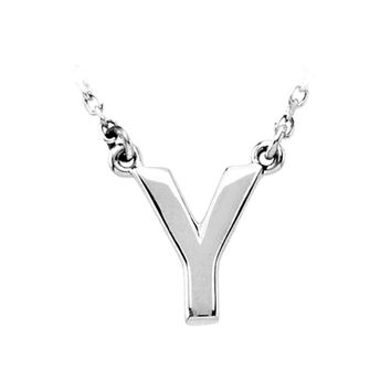 Sterling Silver, Kendall Collection, Block Initial Y Necklace, 16 Inch