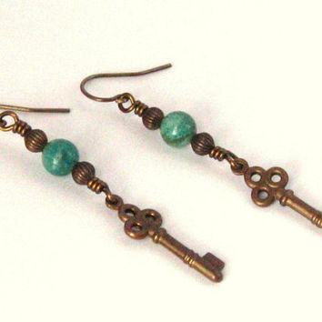 Dangle Earrings With Natural Brass Key Charms Melon Corrugated Brass Beads and Green Chrysocolla Gemstone Focal Beads