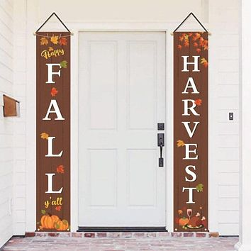 Thanksgiving Porch Sign Door Hanging Banner Flag Welcome Quote Decoration For Yard Indoor Outdoor Party Home Decor