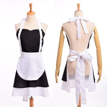 Vintage Lolita Maid Dress Woman Cosplay Cotton Apron French Ruffle Pinafore Coffee Shop Homewear