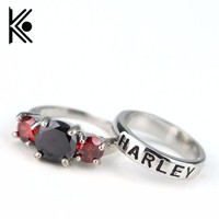 Suicide squads jewelry Harley quinn ring and joker ring Black and red gem Couples ring Wedding jewelry drop shipping