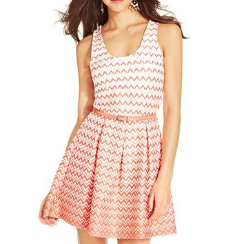 Trixxi Juniors' Printed Belted A-Line Dress