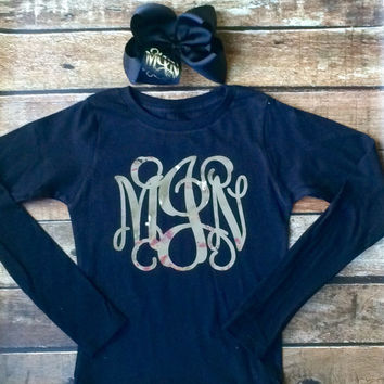 Long Sleeve Monogram Tshirt and Monogram Hair Bow, Monogrammed gifts, Cheer Team, Christmas, Girls, Teens, Womens Long Sleeve Shirt