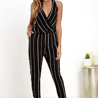 Black V-Neck Striped Sleeveless Jumpsuit