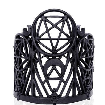 Witchcraft Gothic Pentagram Black Metal Intricate Cuff Bracelet