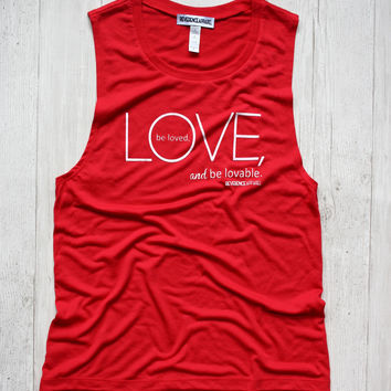 LOVE, BE LOVED, BE LOVABLE YOGA MUSCLE TANK TOP