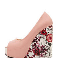 Platform Floral Peep Toe Wedge Pumps