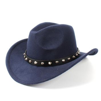 Wool Winter/Autumn Solid Color Cowboy Hats w/ Spiked Band