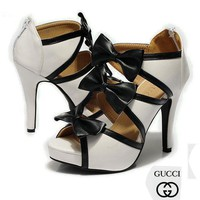 GUCCI Women Fashion Bow Leather Heels Shoes