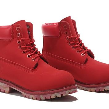 Timberland Rhubarb Boots Red Camouflage Shoes Waterproof Martin Boots