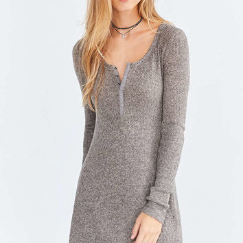 BDG Samual Cozy Henley Long-Sleeve Mini Dress - Urban Outfitters