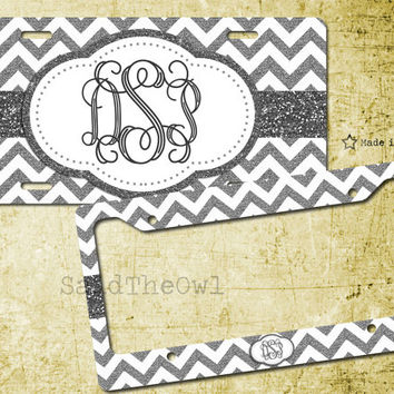 black and white grey glitter chevron cute license plate bike tag - Monogram License Plate Frame