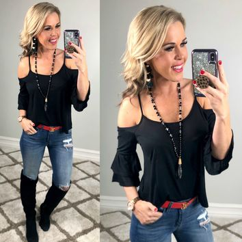 Lounging Day Cold Shoulder Top: Black