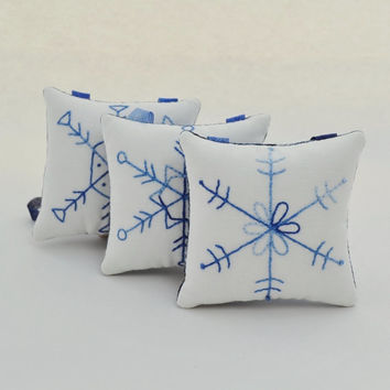 Snowflake Christmas Tree Ornaments - Decorations - Door Knob Hangers - Winter - Hand Stitched - Hand Embroidered - Blue - Geometric Shapes