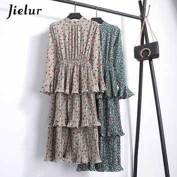 Jielur Cascading Ruffle Chiffon Print Floral Long Dress Femme Slim Boho Casual Dress Elegant S-XL Midi Dress Women