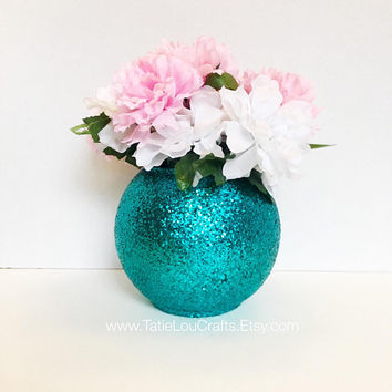 Set OF 4, Wedding Centerpiece,Bridal Shower Decorations, Baby Shower Centerpiece, Turquoise Vases, Engagement Party Decor, Wedding Decor.