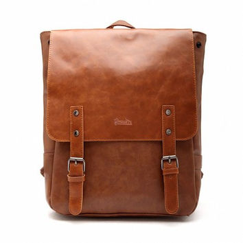 Leather-Like Vintage Women's Backpack School Bag