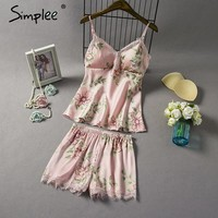 Two piece padded silk pajamas set