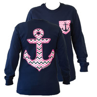 SALE Couture Chevron Anchor Faux Pocket Navy Girlie Bright Long Sleeve T Shirt
