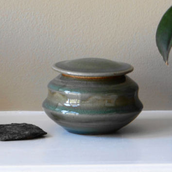 Green stoneware urn with celadon glaze, small lidded jar, pet urn, small memorial urn, stash jar, treasure jar, wish jar
