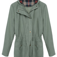 Army Green Hooded Check Elbow Patch Coat