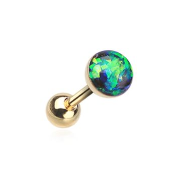 Golden Green Opal Sparkle Cartilage Tragus Helix Earring 16ga Surgical Steel