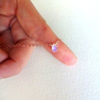 Micro Faceted Briolette Moonstone Pendant and 14k Gold Fill; Rose Gold Fill; Sterling Silver; Oxidized Sterling Silver Chain Bracelet
