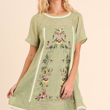 A-Line Floral Embroidery Dress - Sage