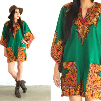 Vintage DASHIKI Bell Sleeve Ethnic Pocket Tunic Mini Dress // Green Gold Multi // Bohemian Gypsy Hippie // XS / Small / Medium / Large