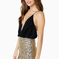 Sequined Surplice Crossback Romper