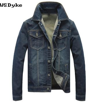 Spring Autumn Casual Slim Jeans Dark Blue Color Denim Jacket Men