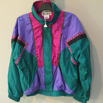 Vintage 80s Jacket, Colorful Nylon Windbreaker, 1980s /Early 90s Color Block Jacket, Casual Isle Purple Green Pink High Collar Zip Fall coat