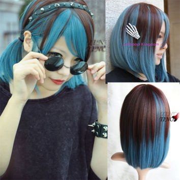 Cute New LOLITA Brown+Blue Color Cosplay Curly Short Straight Hair Wig Full Wigs