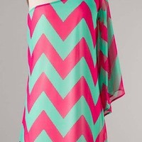 Amazing Chevron Pink Green Zigzag Print Sexy Shoulder Dress Lined High Fashion