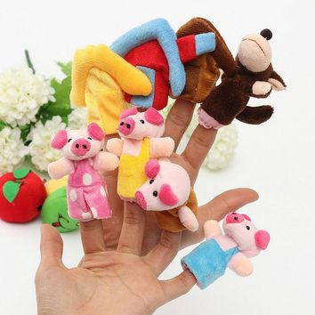 8pc New Three Little Pigs Finger Puppets Kids Educational Hand Toy Story Toy for Boy Girl