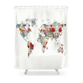Society6 World Map Abstract Shower Curtains