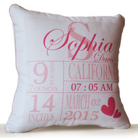 Personalized Pillow Cover -Baby Birth Stats Pillow Case -Baby Shower -New Born Gift -New Mom Gift -Nursery Decor -16x16 -Present -Photo Prop